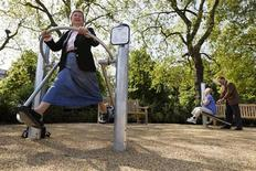 "<p>Elderly people exercise at a dedicated ""pensioners"" playground' at Hyde Park in London, May 19, 2010. REUTERS/Stefan Wermuth</p>"