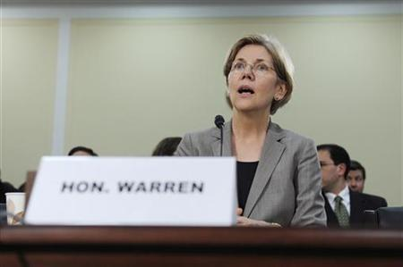 Elizabeth Warren, Assistant to the President and Special Advisor to the Secretary of the Treasury, registers her surprise after a committee member accused her of ''making things up'' when she said she had an agreement to end her testimony at a certain time at a hearing about oversight of the Consumer Financial Protection Bureau of the U.S. House Oversight and Government Reform Committee on Capitol Hill in Washington, May 24, 2011. REUTERS/Jonathan Ernst