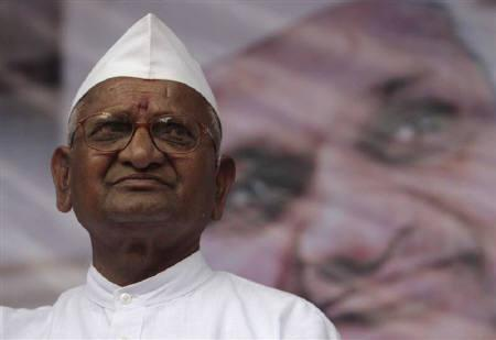 Veteran social activist Anna Hazare looks on during a rally against corruption in Mumbai August 9, 2011.  REUTERS/Danish Siddiqui