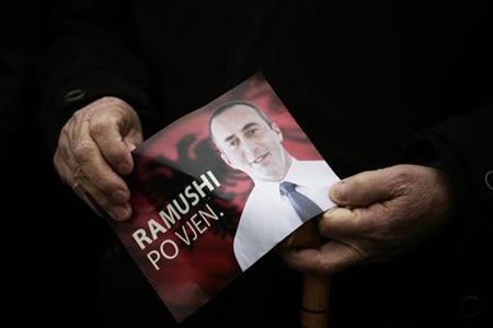 A supporter of Kosovo's former prime minister Ramush Haradinaj protests for his release, in Pristina January 12, 2011. REUTERS/Hazir Reka