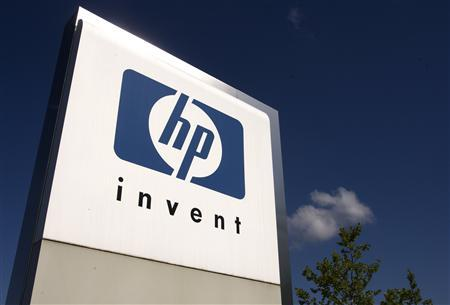 A HP Invent logo is pictured in front of Hewlett-Packard international offices in Meyrin near Geneva in this August 4, 2009 file photograph. REUTERS/Denis Balibouse/Files