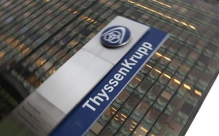The logo of German industrial conglomerate ThyssenKrupp AG is seen outside the ThyssenKrupp steel headquarters in the western German city of Duisburg November 27, 2009. REUTERS/Wolfgang Rattay