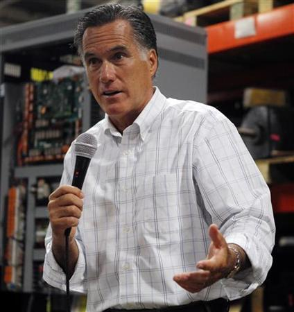 Republican presidential candidate Mitt Romney speaks to employees during a visit to Stanley Elevators in Merrimack, New Hampshire August 16, 2011. REUTERS/Brian Snyder