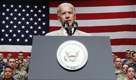 Vice President Joe Biden speaks to U.S. troops at Yokota Air Base on the outskirts of Tokyo August 24, 2011. REUTERS/Toru Hanai
