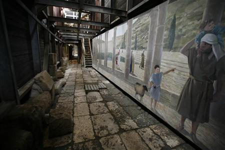 A painting is seen inside a tunnel in Jerusalem's Old City that took the Israel Antiquities Authority (IAA) seven years to complete excavating January 25, 2011. REUTERS/Ammar Awad