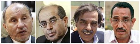 Combination file photographs of (L-R), Head of National Transitional Council (NTC) Mustafa Abdel Jalil taken in Benghazi July 3, 2011, Mahmoud Jibril, the executive head of the Libyan opposition NTC taken in Brussels July 13, 2011, Ali Tarhouni, Libyan NTC's minister for oil and finance, taken in Zintan July 12, 2011 and Abdel Hafiz Ghoga, Libyan rebel NTC vice chairman and official spokesman, taken in Benghazi July 2, 2011. REUTERS/Thaier al-Sudani/Thierry Roge/Ammar Awad/Thaier al-Sudani/Files