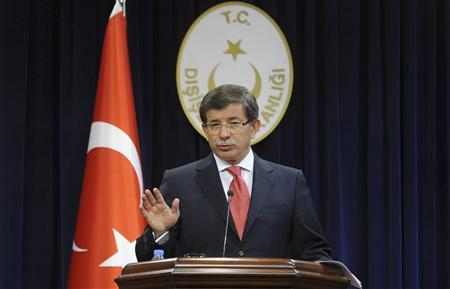 Turkey's Foreign Minister Ahmet Davutoglu speaks during a news conference in Ankara, September 2, 2011. REUTERS/Stringer