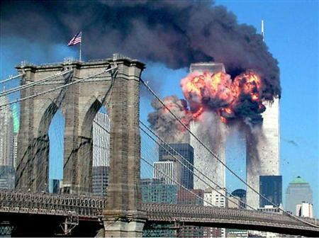 The second tower of the World Trade Center bursts into flames after being hit by a hijacked airplane in New York in this September 11, 2001 file photograph. REUTERS/Sara K. Schwittek/Files