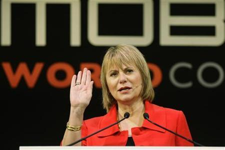 Yahoo CEO Carol Bartz delivers a speech at the GSMA Mobile World Congress in Barcelona February 16, 2011. REUTERS/Gustau Nacarino