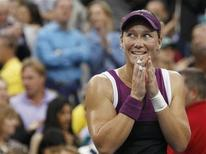 <p>Samantha Stosur of Australia reacts after winning her finals match, defeating Serena Williams of the U.S., at the U.S. Open tennis tournament in New York, September 11, 2011. REUTERS/Mike Segar</p>