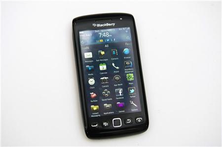 A Blackberry Torch 9860 is displayed at a release party to promote the BlackBerry OS 7 devices in Toronto August 3, 2011. REUTERS/Mark Blinch