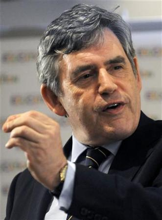Former British Prime Minister Gordon Brown gestures during a press briefing at the Nelson Mandela foundation after his launch of a new High Level Panel for Education in Soweto May 20, 2011. REUTERS/Ziphozonke Lushaba