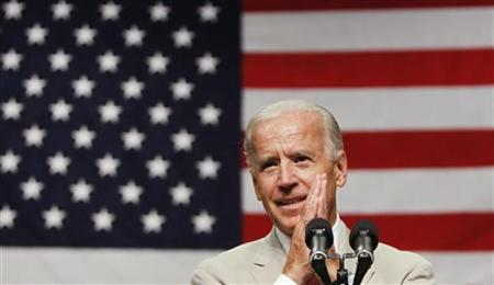 Vice President Joe Biden speaks to troops at Yokota Air Base on the outskirts of Tokyo August 24, 2011. REUTERS/Toru Hanai