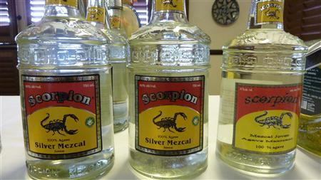 Bottles of Scorpion Silver Mezcal are shown in this publicity photo obtained on September 20, 2011. REUTERS/Handout