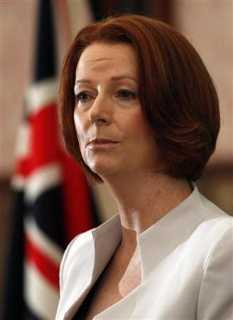 Australia's Prime Minister Julia Gillard delivers a speech during a news conference at the Japan National Press Club in Tokyo April 22, 2011. REUTERS/Issei Kato