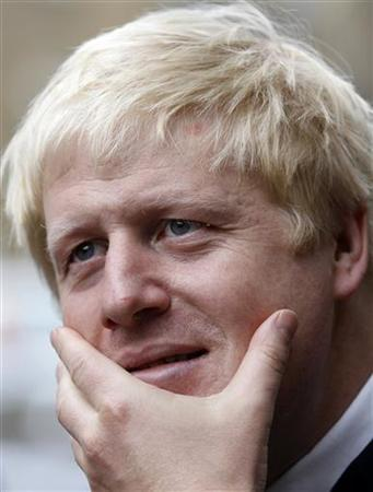 The Mayor of London Boris Johnson speaks to a reporter after an awards ceremony at a health centre, in west London, September 10, 2010. REUTERS/Andrew Winning