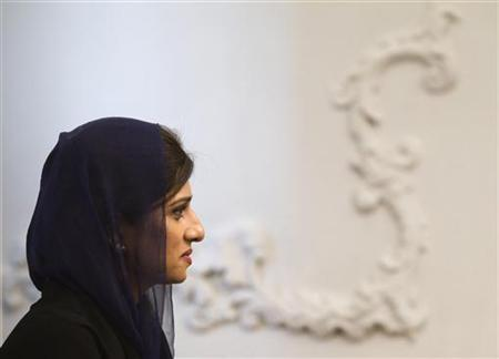 Pakistan's Foreign Minister Hina Rabbani Khar is pictured during an official meeting between Pakistan's Prime Minister Yusuf Raza Gilani and Iranian President Mahmoud Ahmadinejad (not in picture) in Tehran September 12, 2011. REUTERS/Morteza Nikoubazl