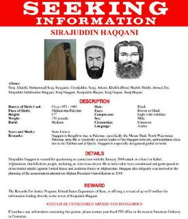 The wanted poster issued by the U.S. Federal Bureau of Investigation for Sirajuddin Haqqani. Haqqani is the head of a Taliban-allied Afghan insurgent group.  REUTERS/FBI/Handout