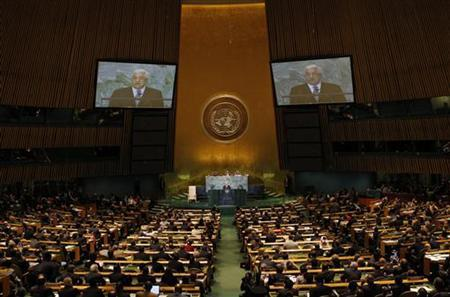 Palestine's President Mahmoud Abbas addresses the 66th United Nations General Assembly at the U.N. headquarters in New York, September 23, 2011. REUTERS/Mike Segar
