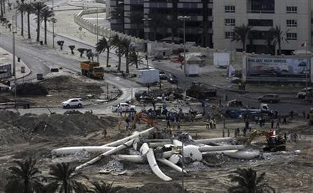 Debris of The Pearl Square statue is seen after it was torn down in Manama March 18, 2011. REUTERS/Hamad I Mohammed