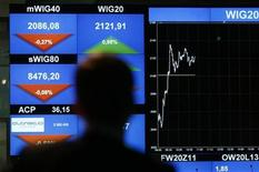 <p>A man looks at the WIG20 index on a screen at the Warsaw Stock Exchange September 26, 2011. Central European stocks rebounded with other European bourses on Monday but the Polish zloty fell as unease over the euro zone debt crisis overshadowed last week's central bank intervention. REUTERS/Kacper Pempel</p>