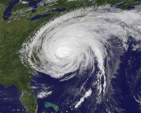 Hurricane Irene is seen on August 27, 2011 at 10:10 a.m. EDT over the U.S. east coast in the Atlantic Ocean in this file NASA satellite image obtained by Reuters on August 28, 2011. REUTERS/NASA-NOAA/Handout/Files