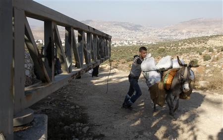A Palestinian farmer walks with a donkey past an Israeli army gate as he makes his way to harvest olive trees on the outskirts of the West Bank village of Salem, near the Jewish settlement of Elone Moreh, east of Nablus, October 3, 2011. REUTERS/Abed Omar Qusini