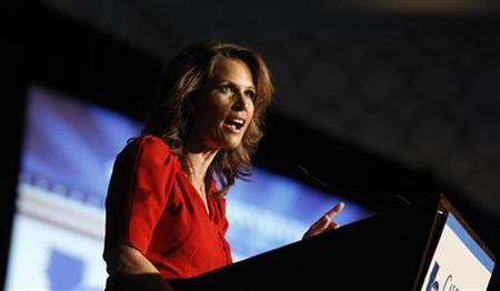 Republican presidential candidate, Rep. Michele Bachmann (R-MN), speaks at the California Republican Party fall convention in Los Angeles September 16, 2011. REUTERS/Mario Anzuoni