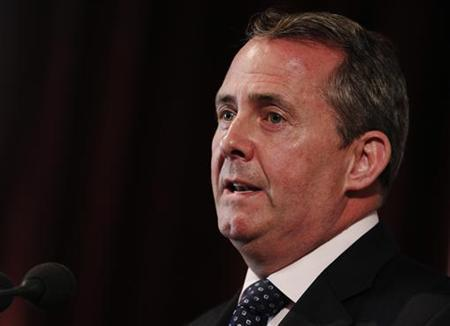 Defence Secretary Liam Fox speaks at a news conference in London June 27, 2011. REUTERS/Luke MacGregor