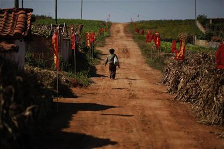 A North Korean farmer walks through a village in an area damaged by summer floods and typhoons in South Hwanghae province September 30, 2011. REUTERS/Damir Sagolj