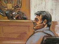 <p>Manssor Arbabsiar is shown in this courtroom sketch during an appearance in a Manhattan courtroom in New York, New York on October 11, 2011. Arbabsiar, 56, who is a naturalized U.S. citizen and holds an Iranian passport, was arrested at John F. Kennedy International Airport in New York on Sept. 29. U.S. authorities broke up a plot by two men linked to the Iranian government to assassinate the Saudi ambassador in the United States, U.S. officials said on Tuesday, escalating tensions between Tehran and Washington. Arbabsiar was ordered detained and assigned a public defender. REUTERS/Jane Rosenberg</p>
