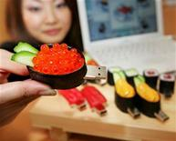 <p>Sushi-shaped USB memory devices 'SushiDisk' are displayed at Solid Alliance Corp's, a Japanese electonics device maker, office in Yokohama, south of Tokyo, November 11, 2004. REUTERS/Yuriko Nakao</p>