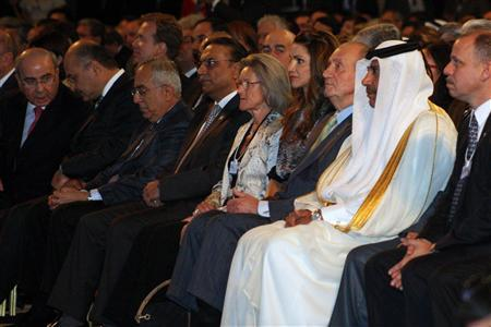 Leaders attend the opening ceremony of the World Economic Forum (WEF) on the Middle East at the King Hussein Convention Centre at the Dead Sea October 22, 2011. Pictured are Iraq's Kurdistan region Prime Minister Barham Salih (2nd L); Palestinian Prime Minister Salam Fayyad (3rd L); Pakistani President Asif Ali Zardari (4th L); Hilde Schwab (5th R), the wife of WEF founder Klaus Schwab; Jordan's Queen Rania (4th R), Spanish King Juan Carlos (3rd R), Qatar's Prime Minister and Foreign Minister Sheikh Hamad bin Jassim al-Thani (2nd R) and Jordan's Prince Faisal bin al-Hussein (R). REUTERS/Majed Jaber