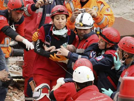 Rescue workers carry a baby from a collapsed building in Ercis, near the eastern Turkish city of Van, October 25, 2011. REUTERS/Stringer