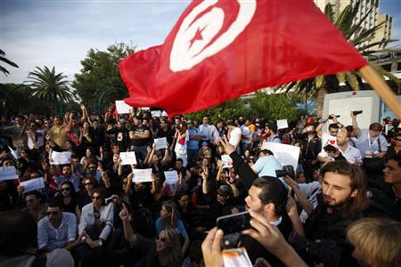 Demonstrators attend a protest against the Islamist Ennahda movement in Tunis October 25, 2011. REUTERS/Zohra Bensemra