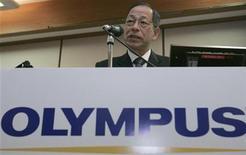 <p>Japanese medical equipment and digital camera maker Olympus Corp President Tsuyoshi Kikukawa speaks during a news conference in Tokyo November 19, 2007. REUTERS/Yuriko Nakao</p>