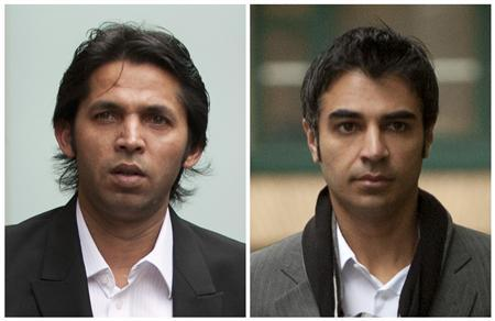 Former Pakistan cricketer Mohammad Asif and former Pakistan cricket captain Salman Butt (R) arriving at Southwark Crown Court in London, November 1, 2011 and October 31, 2011 respectively. REUTERS/Staff