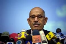 <p>International Atomic Energy Agency (IAEA) Director General Mohamed ElBaradei speaks during a media conference in Tehran October 4, 2009. REUTERS/Caren Firouz</p>