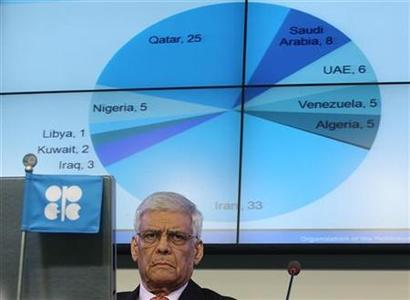 Organization of the Petroleum Exporting Countries (OPEC) Secretary General Adullah al-Badri listens during the presentation of OPEC's 2011 World Oil Outlook in Vienna, November 8, 2011. REUTERS/Heinz-Peter Bader