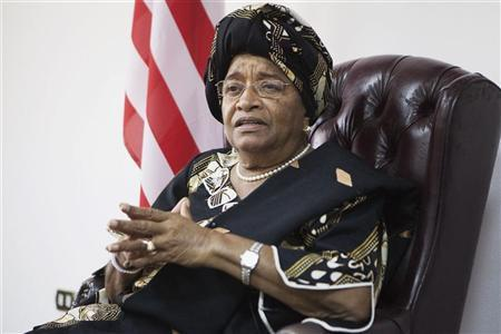 Liberia's President and 2011 Nobel Peace Prize winner Ellen Johnson-Sirleaf listens to a question during an interview with Reuters at her office in Monrovia November 11, 2011. Johnson-Sirleaf promised to involve opponents in her second term after winning a landslide victory in an election boycotted by her main rival over fraud allegations. REUTERS/Finbarr O'Reilly