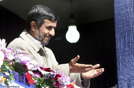 Iranian President Mahmoud Ahmadinejad gestures during his visit to speak in Shahrekord in Chahar Mahal and Bakhtiari province, 521 km (326 miles) southwest of Tehran, November 9, 2011. REUTERS/President.ir/Handout