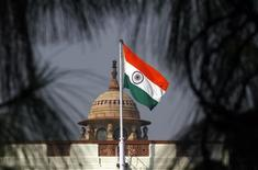<p>An Indian national flag flutters on top of the Indian parliament building in New Delhi December 1, 2010. REUTERS/B Mathur</p>