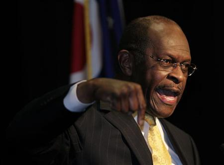 Republican presidential contender Herman Cain addresses campaign supporters during a campaign stop in Cincinnati, Ohio, November 30, 2011. REUTERS/John Sommers II