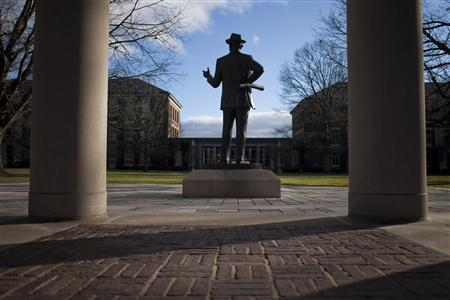 A statue of Eastman Kodak founder George Eastman stands on the University of Rochester campus in Rochester, New York, December 23, 2011. REUTERS/Adam Fenster