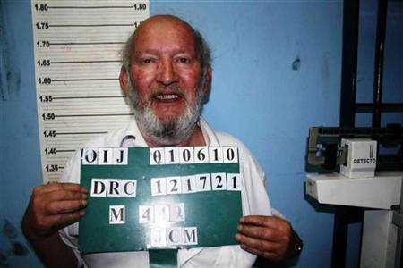 An undated police mugshot photo show Jean-Claude Mas, displayed on the ''red notice'' posted by Interpol on its website, as the 72-year-old is wanted for ''life and health'' offences by Costa Rica. REUTERS/Interpol/Handout