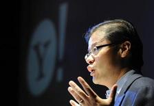 <p>Yahoo co-founder Jerry Yang gestures as he addresses a conference in a file photo. REUTERS/Toby Melville</p>