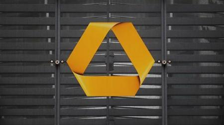 A branch of German Commerzbank is pictured at the entrance of the headquarters is in Frankfurt, January 19, 2012. REUTERS/Alex Domanski
