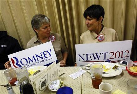 Elaine Stephens (L) and Cindy Sweetnay hold rival campaign signs at Tommy's Ham House in Greenville, South Carolina January 21, 2012. REUTERS/Eric Thayer