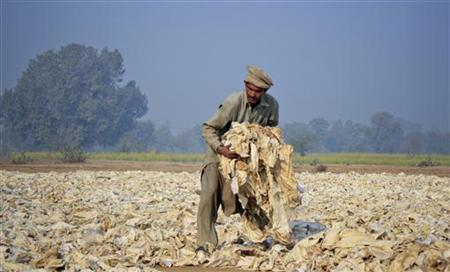 A man sorts offcuts of fabric that will be sold to textile factories before being recycled, in the outskirts of Faisalabad, December 27, 2011. REUTERS/Fayyaz Hussain