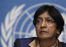 <p> Navi Pillay, High Commissioner for Human Rights at the United Nations, Geneva, on the first December, 2011 - Reuters </ p>